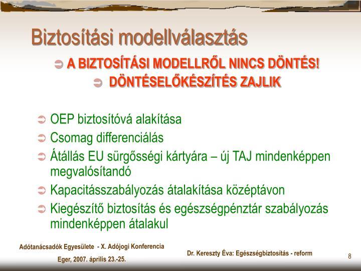 Biztosítási modellválasztás