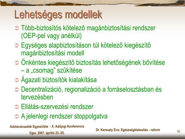Lehetséges modellek