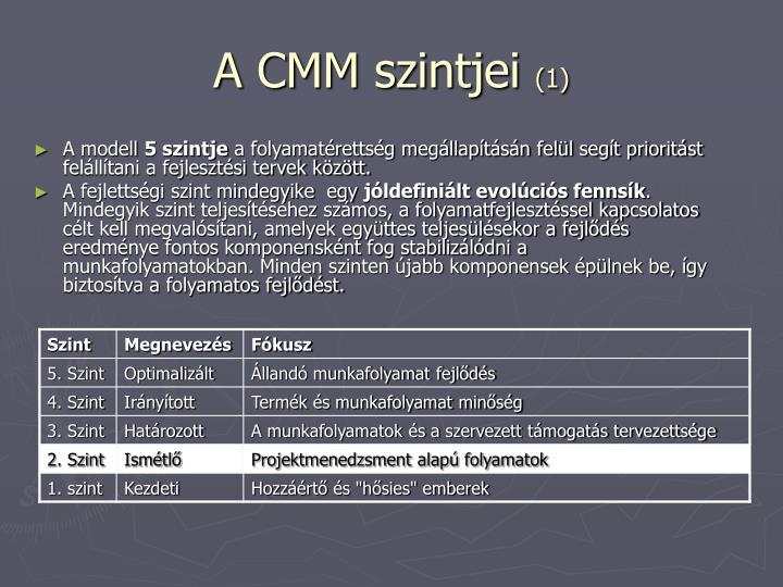 A CMM szintjei
