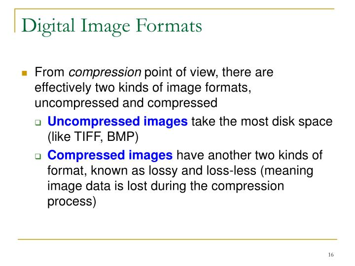 Digital Image Formats