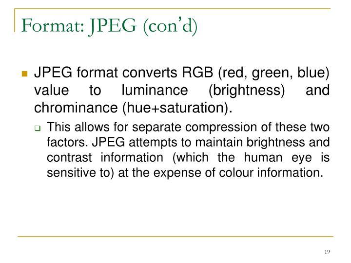Format: JPEG (con