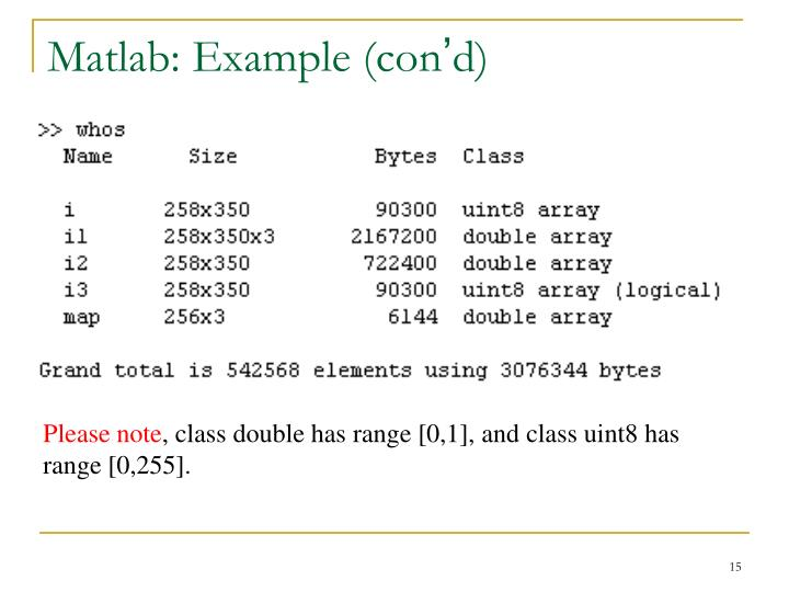Matlab: Example (con