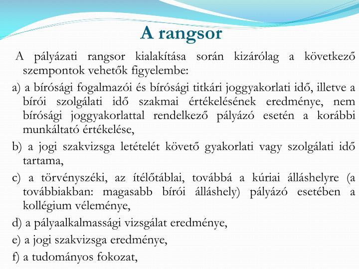 A rangsor