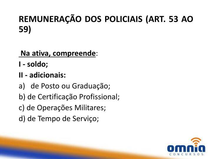 REMUNERAÇÃO DOS POLICIAIS (ART. 53 AO 59)