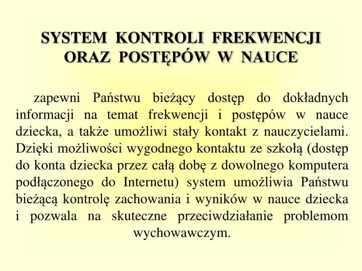 SYSTEM  KONTROLI  FREKWENCJI