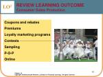 review learning outcome consumer sales promotion