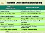 traditional selling and relationship selling