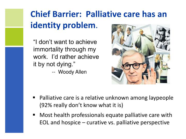 Chief Barrier:  Palliative care has an identity problem