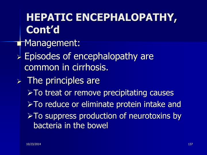 HEPATIC ENCEPHALOPATHY, Cont'd