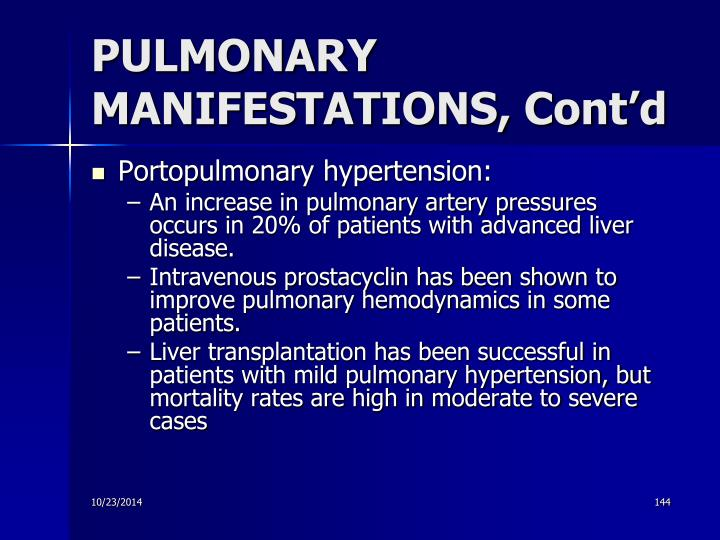 PULMONARY MANIFESTATIONS, Cont'd