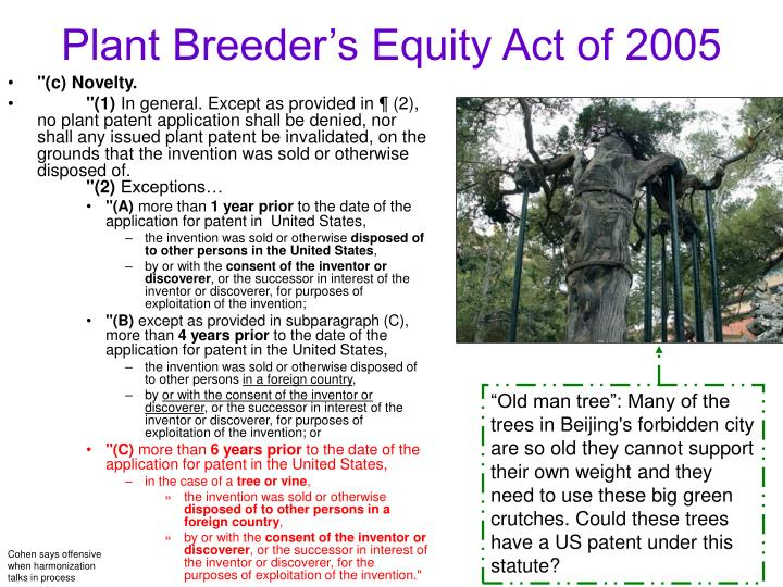 Plant Breeder's Equity Act of 2005