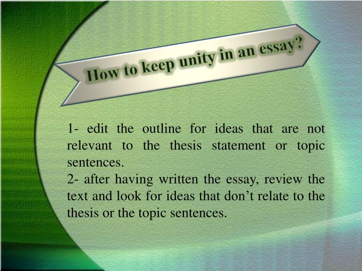 assuring unity and coherence in an essay