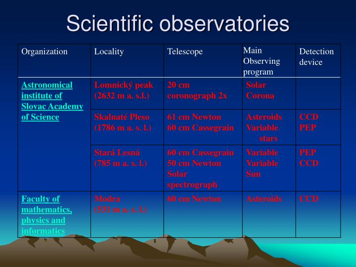 Scientific observat ories