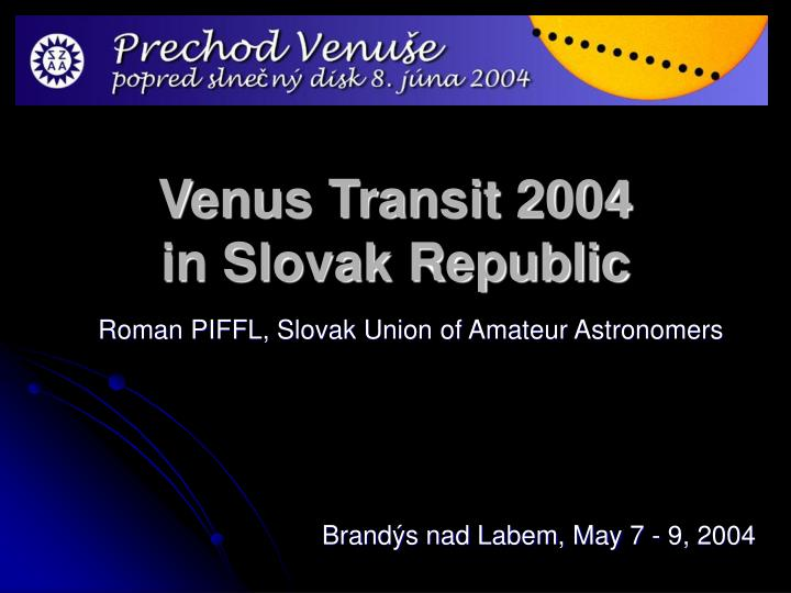 venus transit 2004 in slovak republic