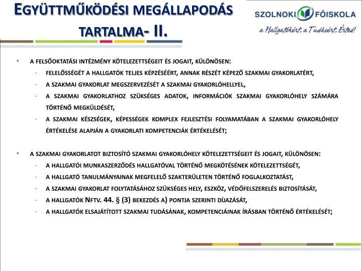 Együttműködési megállapodás tartalma- II.