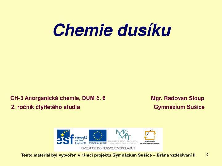 Chemie dusíku