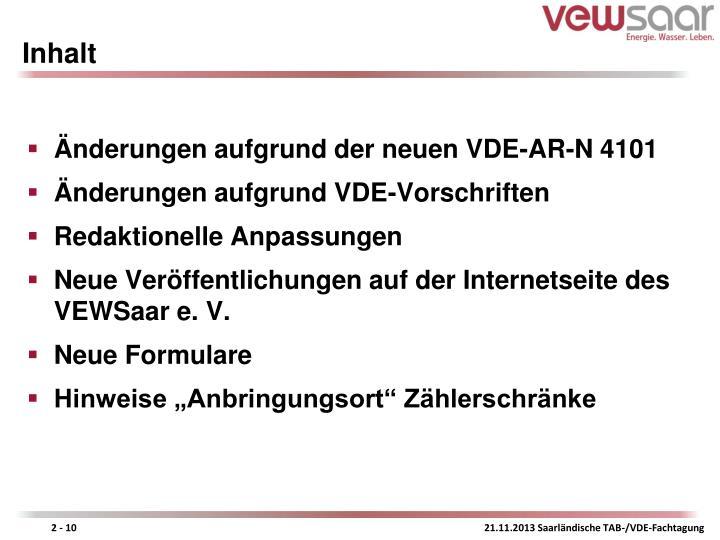 Änderungen aufgrund der neuen VDE-AR-N 4101
