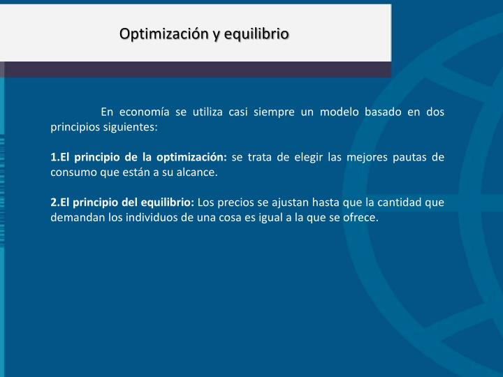 Optimización y equilibrio