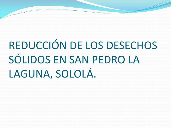REDUCCIÓN DE LOS DESECHOS SÓLIDOS EN SAN PEDRO LA LAGUNA, SOLOLÁ.