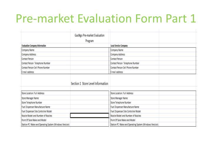 Pre-market Evaluation Form Part 1
