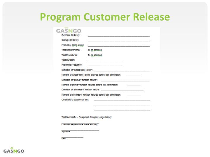 Program Customer Release