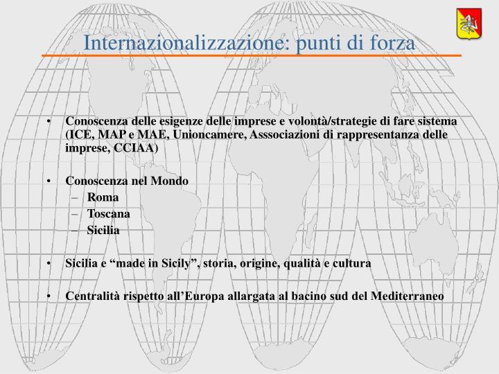 Internazionalizzazione: punti di forza