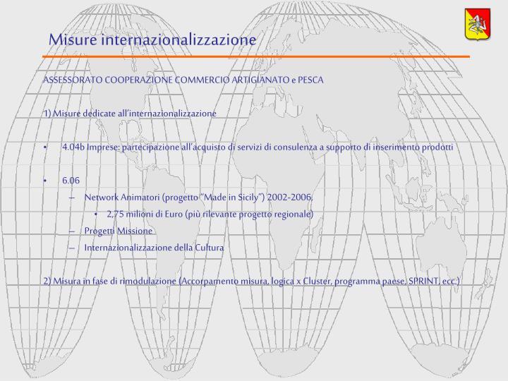 Misure internazionalizzazione