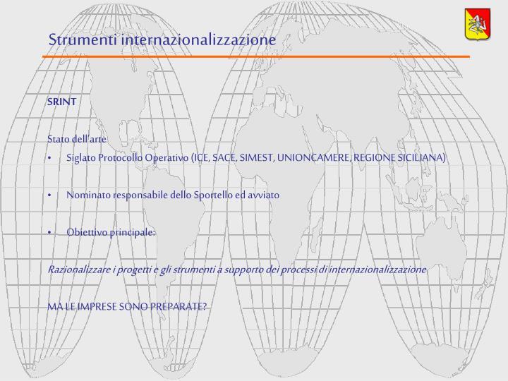 Strumenti internazionalizzazione