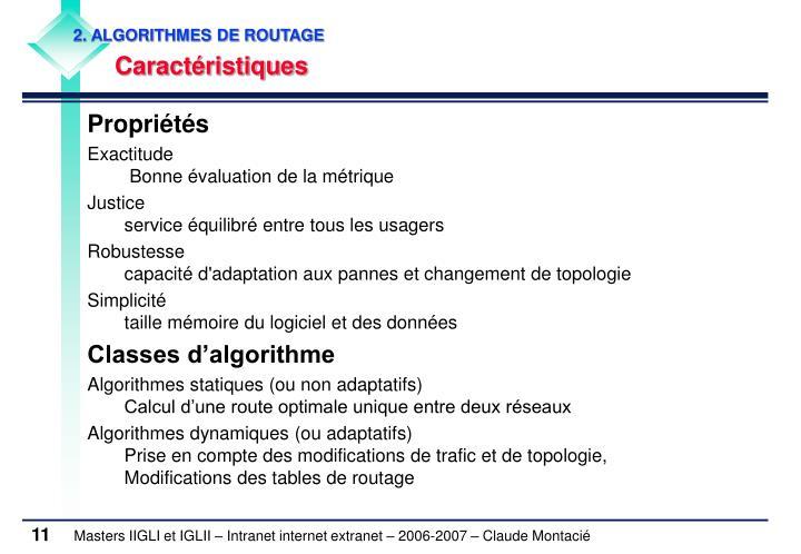 2. ALGORITHMES DE ROUTAGE