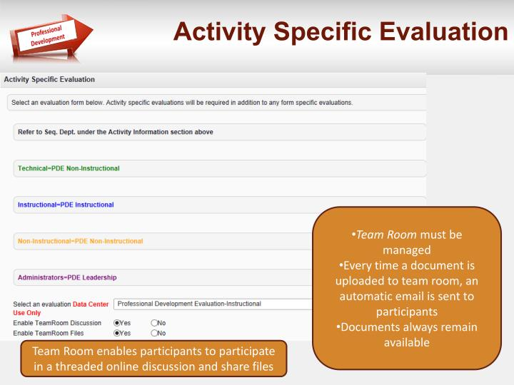 Activity Specific Evaluation
