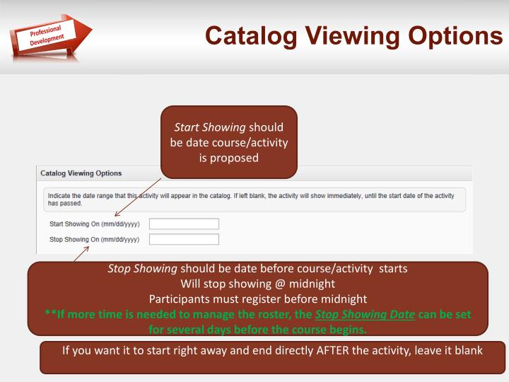 Catalog Viewing Options