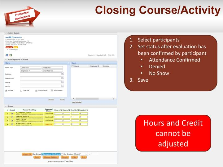 Closing Course/Activity