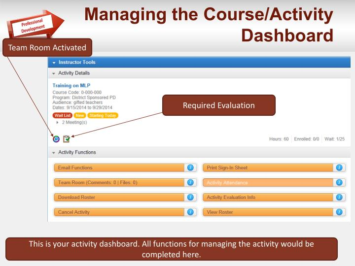 Managing the Course/Activity  Dashboard