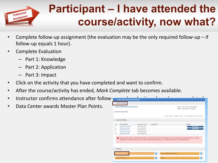 Participant – I have attended the course/activity, now what?