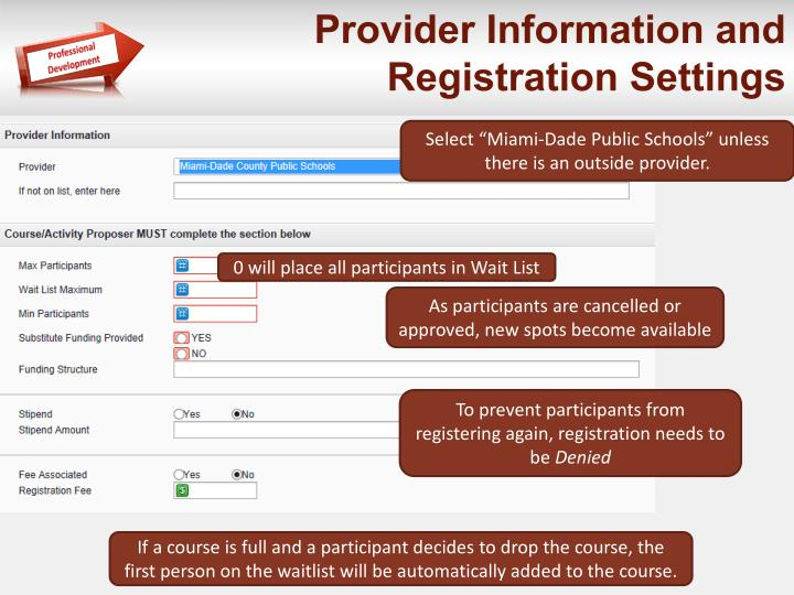 Provider Information and Registration Settings
