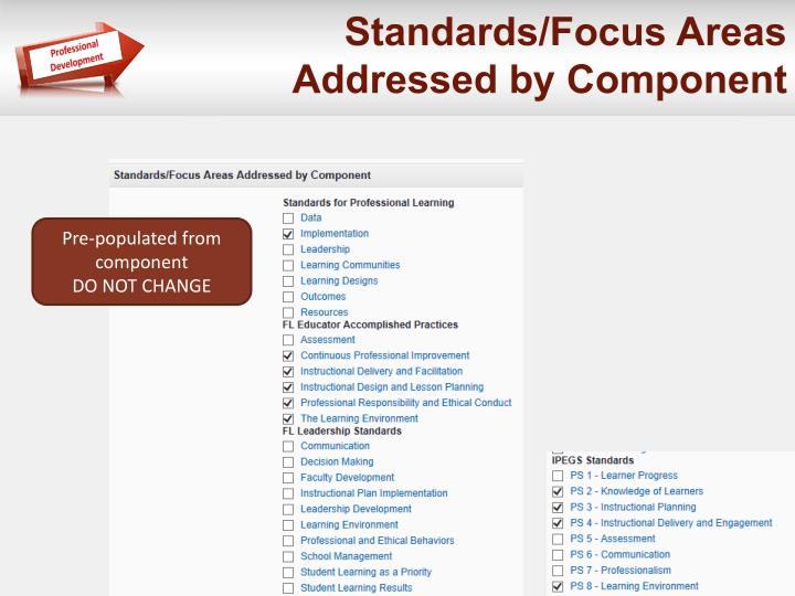 Standards/Focus Areas Addressed by Component