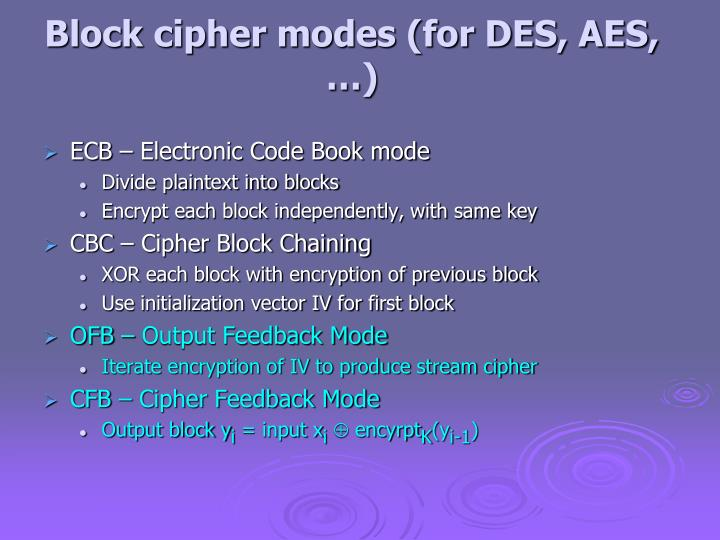 Block cipher modes (for DES, AES, …)