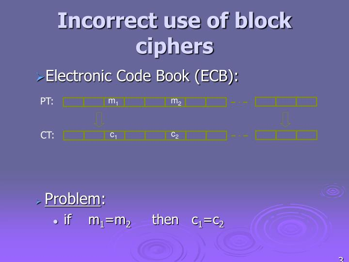 Incorrect use of block ciphers