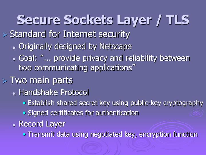 Secure Sockets Layer / TLS
