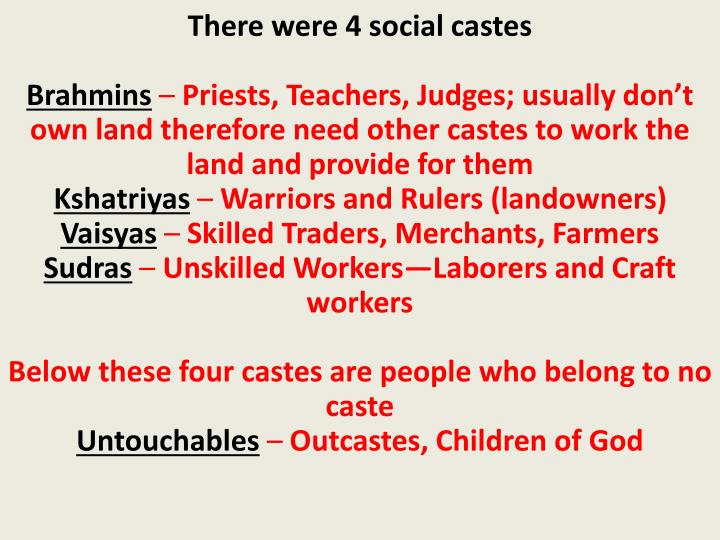 There were 4 social castes