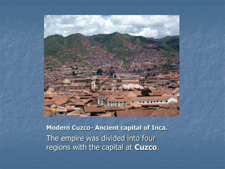 Modern Cuzco- Ancient capital of Inca.