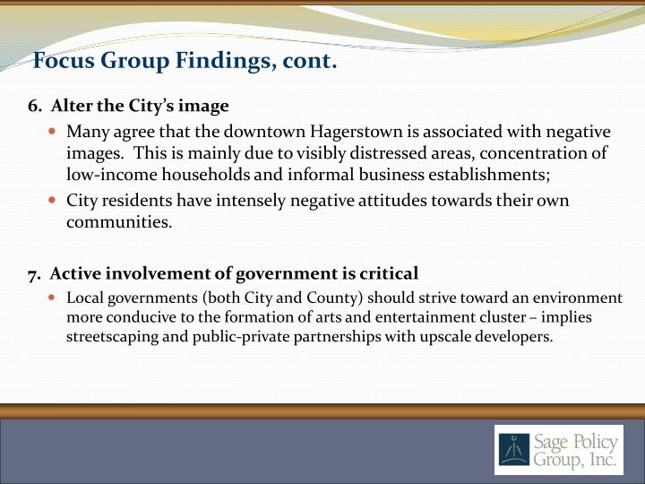 Focus Group Findings, cont.