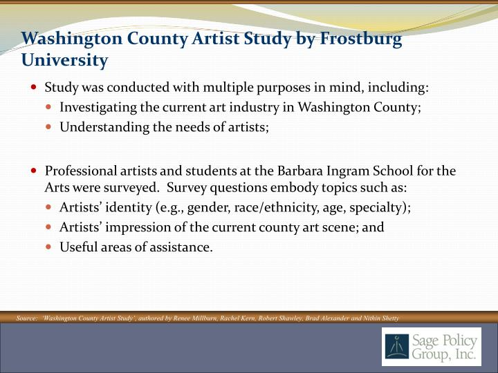 Washington County Artist Study by Frostburg University
