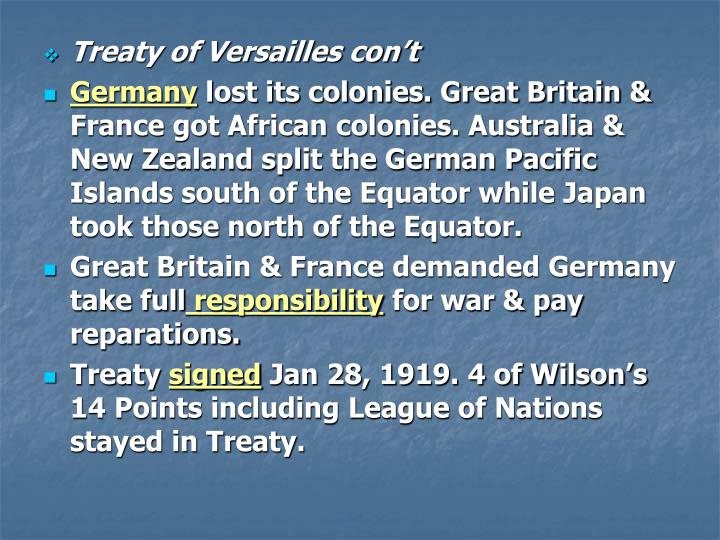 treaty of versailles signed by great