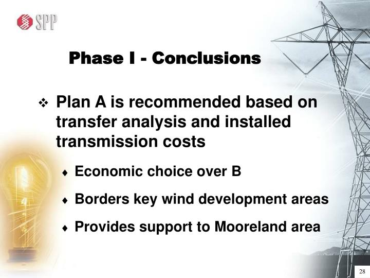 Phase I - Conclusions