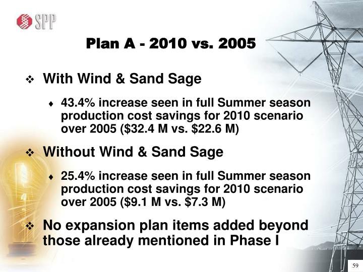 Plan A - 2010 vs. 2005