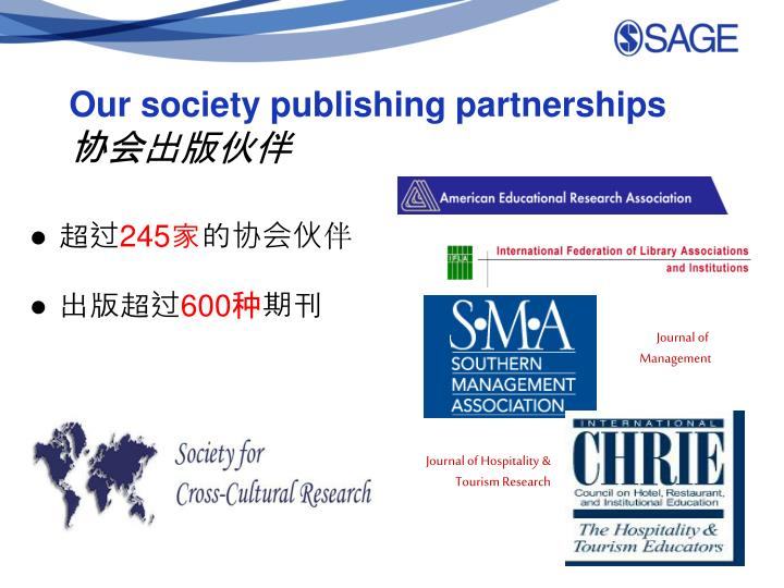 Our society publishing partnerships