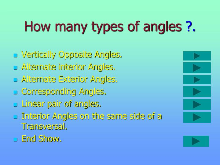 How many types of angles