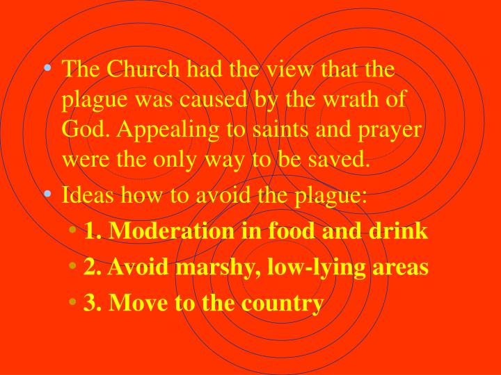 The Church had the view that the plague was caused by the wrath of God. Appealing to saints and prayer were the only way to be saved.
