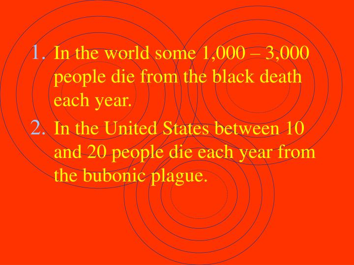 In the world some 1,000 – 3,000 people die from the black death each year.